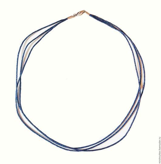 Колье, бусы ручной работы. Ярмарка Мастеров - ручная работа. Купить Шнурок металлизированный синий в три нити. Handmade.