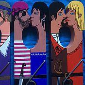 Подарки к праздникам ручной работы. Ярмарка Мастеров - ручная работа деревянная прищепка целующиеся влюблённые. Handmade.