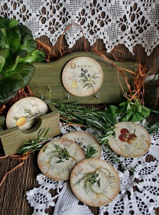 Кухня ручной работы. Ярмарка Мастеров - ручная работа. Купить Аромат душистых трав. Handmade. Вешалка, подставка под кружку