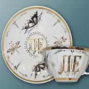 Single Tea Sets handmade. Livemaster - original item Elegant tea pair of thin-walled porcelain with your initials. Tea hand. Handmade.
