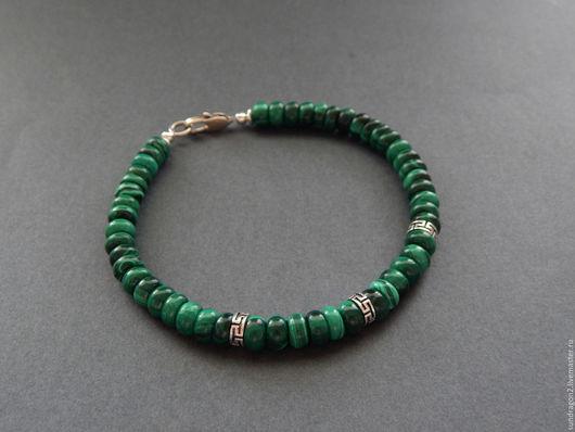 Украшения для мужчин, ручной работы. Ярмарка Мастеров - ручная работа. Купить браслет из МАЛАХИТА НАТУРАЛЬНОГО с серебром 925. Handmade.