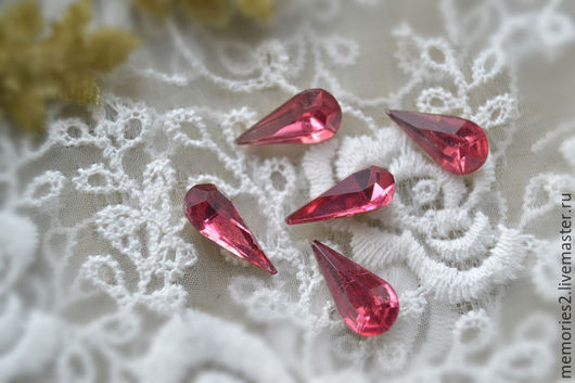 Для украшений ручной работы. Ярмарка Мастеров - ручная работа. Купить Винтажные кабошоны 15х7 мм цвет Rose. Handmade.