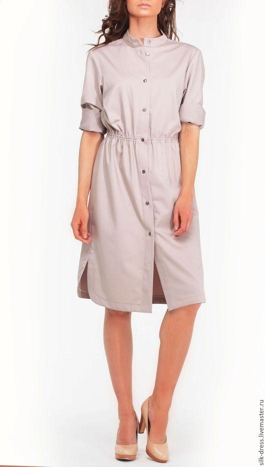 Платья ручной работы. Ярмарка Мастеров - ручная работа. Купить Платье-рубашка бежевого цвета. Handmade. Бежевый, платье-рубашка
