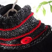 Шарфы ручной работы. Ярмарка Мастеров - ручная работа Cнуд шарф вязаный женский полушерстяной чёрный Немного красного. Handmade.