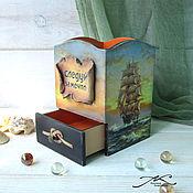 Канцелярские товары handmade. Livemaster - original item Pencil holder wooden decoupage men`s marine with ship 2. Handmade.