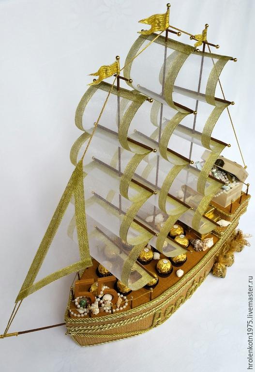 """Букеты ручной работы. Ярмарка Мастеров - ручная работа. Купить Корабль с конфетами """"Богатство морей"""". Handmade. Разноцветный"""