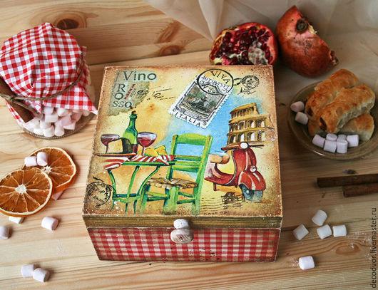 """Кухня ручной работы. Ярмарка Мастеров - ручная работа. Купить Короб для чайных пакетиков """" Итальянский завтрак"""". Handmade. Комбинированный"""