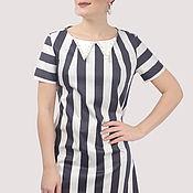 Одежда handmade. Livemaster - original item Striped cotton dress with a pearl collar short. Handmade.