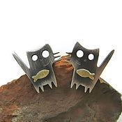 """Украшения ручной работы. Ярмарка Мастеров - ручная работа """"два товарища"""" серьги-гвоздики  из серебра. Handmade."""