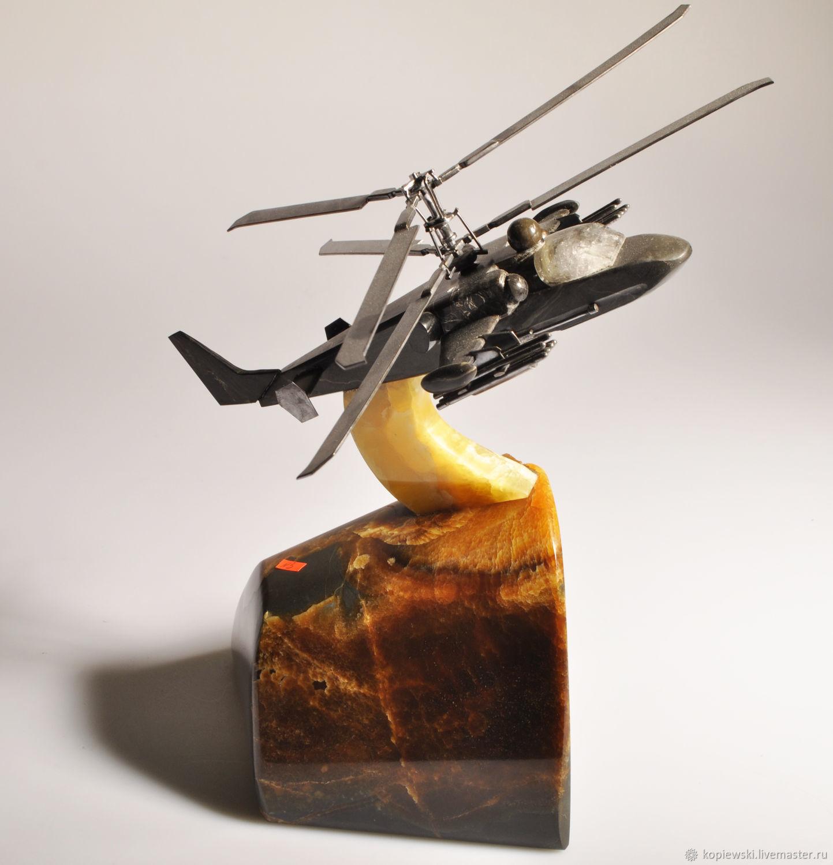 """Вертолет """"Ка-52"""" из камня Симбирцит и Окаменелого дерева, Камни, Ульяновск,  Фото №1"""
