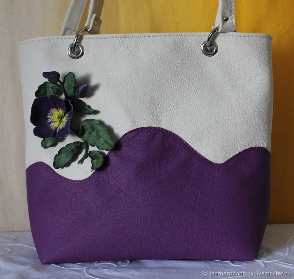 "Leather woman violet flower bag ""Pansy"", Classic Bag, Bologna,  Фото №1"