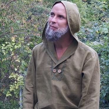 Одежда ручной работы. Ярмарка Мастеров - ручная работа Рубашка из льна с капюшоном Магия леса. Handmade.