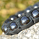 Shamballa bracelet leather hematite stone. fashionable bracelet