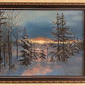 Картина маслом Низкое зимнее солнце