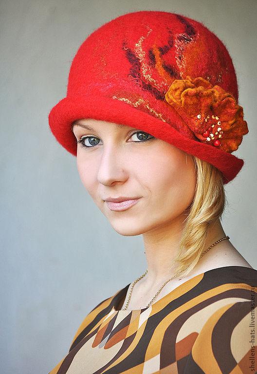 """Шляпы ручной работы. Ярмарка Мастеров - ручная работа. Купить Шляпка """"Poinsettia"""". Handmade. Шапка, Елена Ост, красный, огненный"""