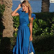 Одежда handmade. Livemaster - original item KK-104 blue dress with ruches. Handmade.