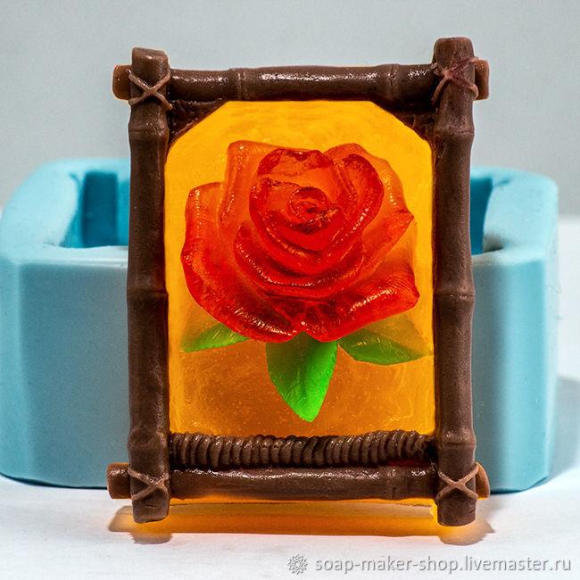 Силиконовая форма для мыла «Роза в рамке 2D», Формы, Шахты,  Фото №1