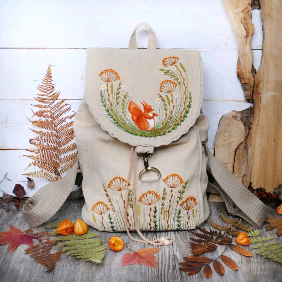 Textile backpack with embroidery ' Squirrel', Backpacks, Rybinsk,  Фото №1