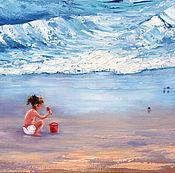 Картины и панно ручной работы. Ярмарка Мастеров - ручная работа Малышка и море - картина маслом. Handmade.