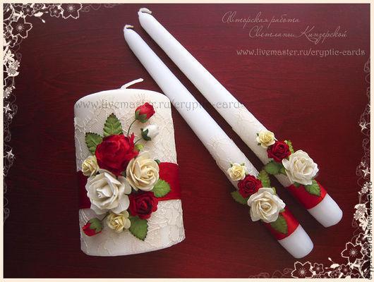 """Свадебные аксессуары ручной работы. Ярмарка Мастеров - ручная работа. Купить Набор свечей """"Красные розы и кружево"""" разные цвета. Handmade."""