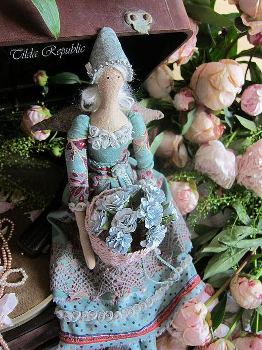 """Куклы Тильды ручной работы. Ярмарка Мастеров - ручная работа. Купить Тильда ангел """"Цветочная нежность"""". Handmade. Мятный, пион"""