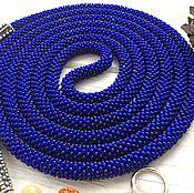 Украшения ручной работы. Ярмарка Мастеров - ручная работа Длинный синий лариат. Handmade.