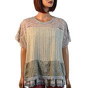 Одежда handmade. Livemaster - original item Tunic linen summer light beige linen and knitwear viscose. Handmade.