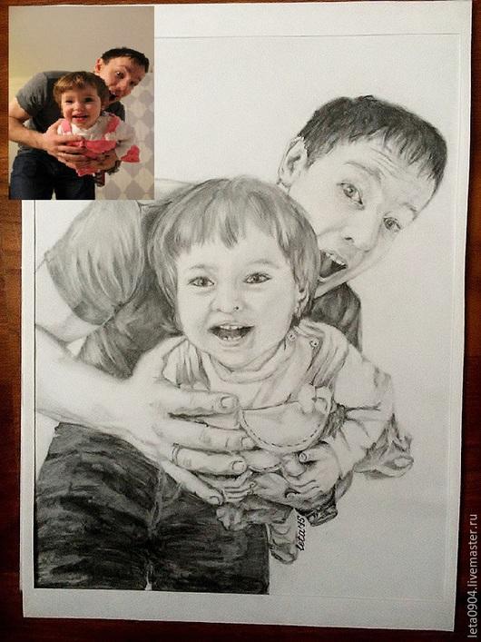 """Люди, ручной работы. Ярмарка Мастеров - ручная работа. Купить Портрет """"Папа и доченька"""". Handmade. Темно-серый, карандаш, рисование"""