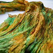 Аксессуары ручной работы. Ярмарка Мастеров - ручная работа шелковый женский шарф рыже коричнево изумрудный натуральный шелк. Handmade.