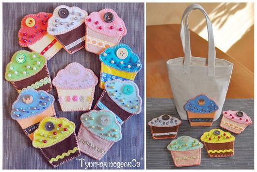Разноцветные пироженки из фетра и сумочка для сюжетно-ролевой игры и хранения.