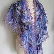 Аксессуары handmade. Livemaster - original item Openwork shawl - Blue distance. Handmade.
