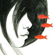 Картины и панно ручной работы. Ярмарка Мастеров - ручная работа Интерьерный принт Красные рыбки. Handmade.