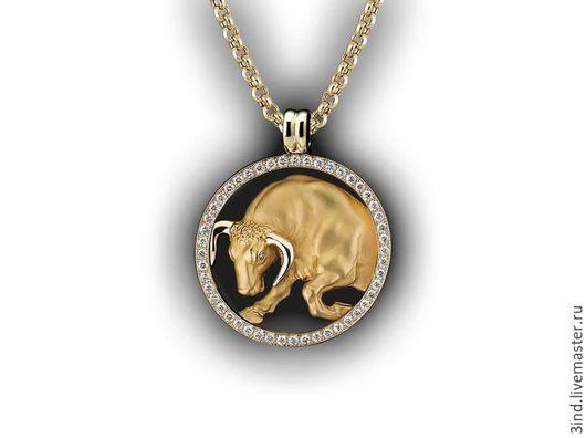 Кулон `Телец` из золота 750 пробы Бриллианты 1,5 ct. диаметром 2 мм. диаметр 40 мм. https://vk.com/3dmodelpro Возможны варианты изготовления.