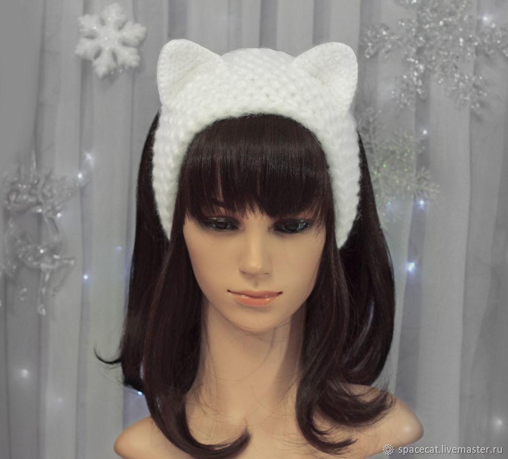 повязка на голову с ушками кошка вязаная для волос белая купить в