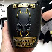 Кружки ручной работы. Ярмарка Мастеров - ручная работа Бэтмен из полимерной глины на кружке. Подарок для мальчика, мужчины. Handmade.
