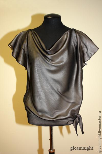 Блузки ручной работы. Ярмарка Мастеров - ручная работа. Купить Шелковая блузка с каскадом. Handmade. Серый, мода для полных
