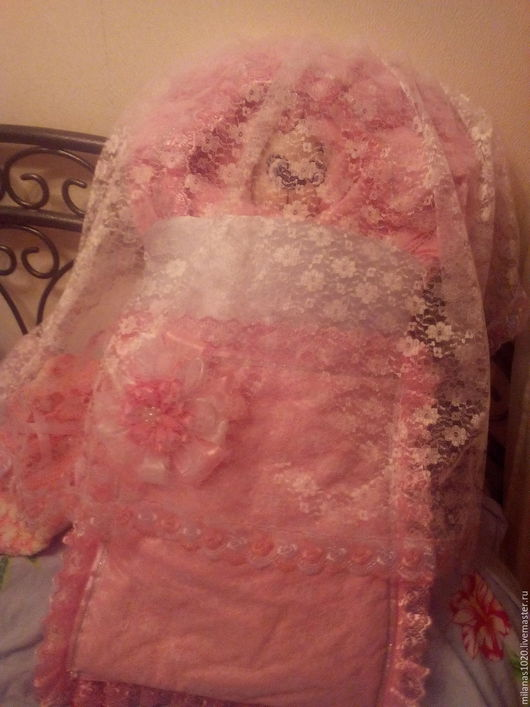 """Для новорожденных, ручной работы. Ярмарка Мастеров - ручная работа. Купить Комплект на выписку """"Розовая нежность"""". Handmade. Розовый"""