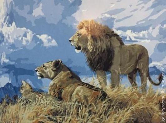 Другие виды рукоделия ручной работы. Ярмарка Мастеров - ручная работа. Купить Картина по номерам на холсте Львы на фоне неба. Handmade.