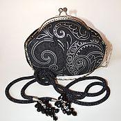 Украшения ручной работы. Ярмарка Мастеров - ручная работа Черный лариат вязаный с бисером длинный. Handmade.
