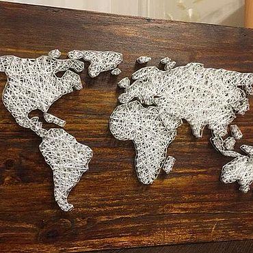 Картины и панно ручной работы. Ярмарка Мастеров - ручная работа Карта мира в стиле стринг-арта. Handmade.