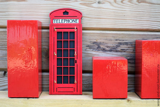 Прихожая ручной работы. Ярмарка Мастеров - ручная работа. Купить Ключница Лондонская телефонная будка. Handmade. Ярко-красный, Великобритания