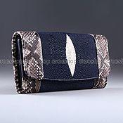 Сумки и аксессуары handmade. Livemaster - original item Wallet leather Stingray and Python IMCP0018VCZ. Handmade.