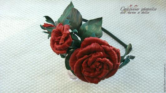 Диадемы, обручи ручной работы. Ярмарка Мастеров - ручная работа. Купить ободок с розами. Купить ободок из кожи `Королева цветов`.