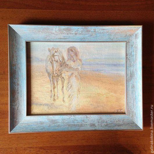 Картина Мираж. холст на картоне, масло, 18х24см,  в красивой деревянной раме нежно голубого цвета.