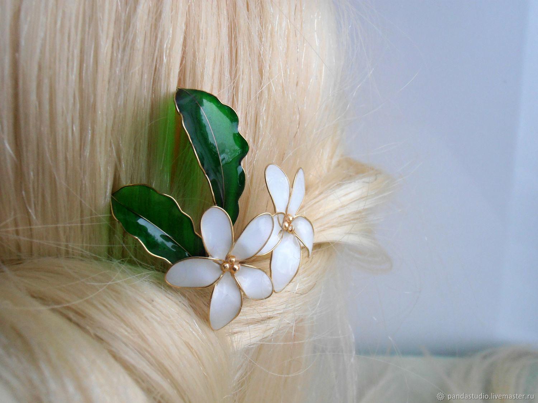 Hairpin white pansies, Hairpin, Cheboksary,  Фото №1