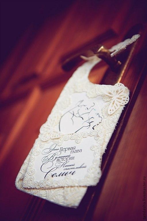 Подарки на свадьбу ручной работы. Ярмарка Мастеров - ручная работа. Купить табличка на дверь молодоженам или влюбленным. Handmade. Белый