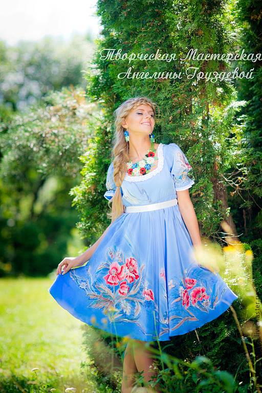 Забава! (шелковое платье с ручной росписью), Платья, Ростов-на-Дону,  Фото №1