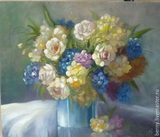 """Картины цветов ручной работы. Ярмарка Мастеров - ручная работа. Купить Картина """"Букет цветов в синей вазе"""". Handmade. Цветы"""