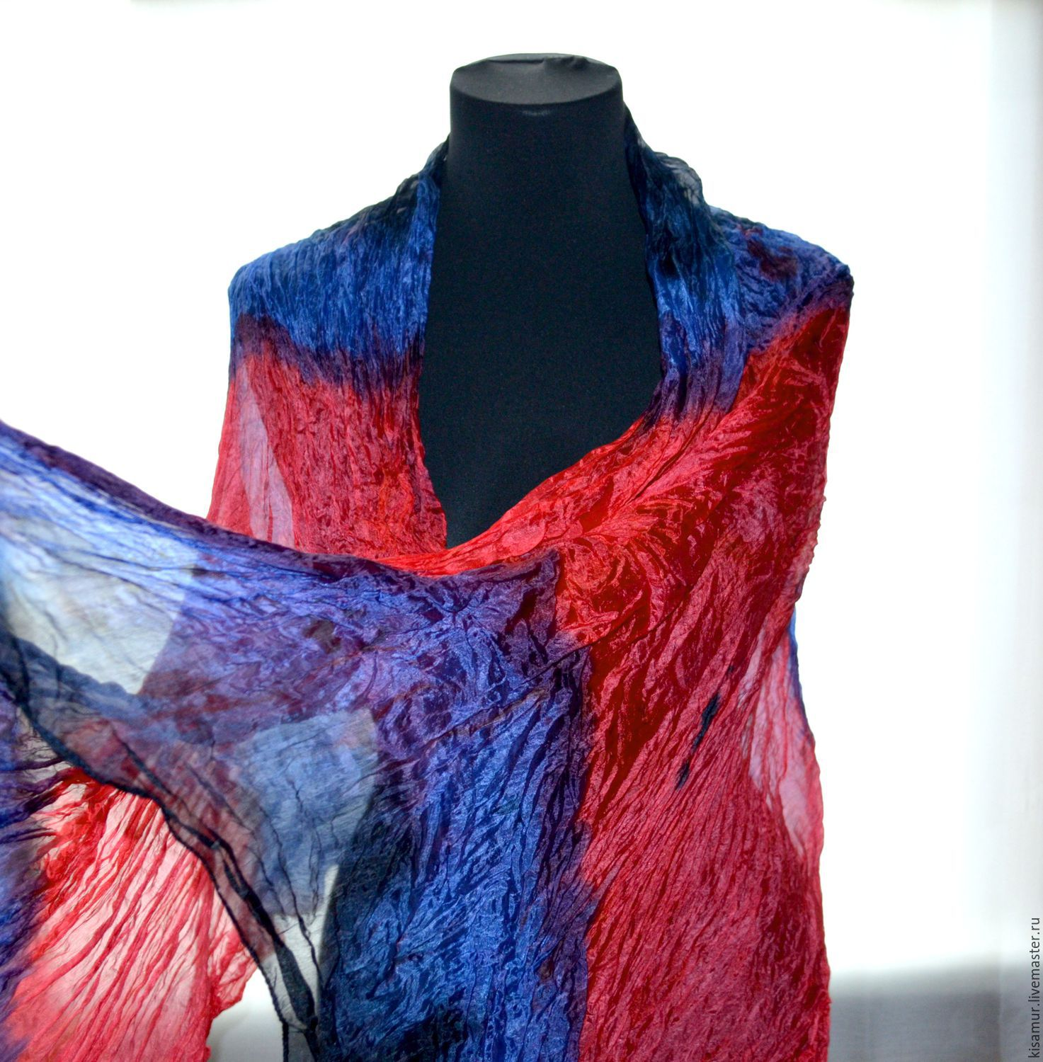 Buy scarf hand painted red blue black scarf silk hand painting scaf
