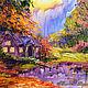 """Пейзаж ручной работы. Ярмарка Мастеров - ручная работа. Купить Картина с домиком """"Осенние Сумерки"""" (холст, масло). Handmade. Оранжевый"""